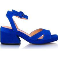 91d6dc4a80 Farfetch  Luiza Barcelos Sandália Salto Bloco De Tiras - Azul