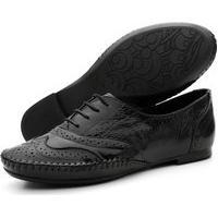 Sapato Casual Oxford Conforto Verniz Preto