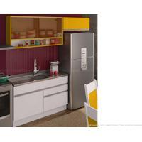 Cozinha Modulada Completa 3 Módulos 100% Mdf Branco/Gold - Glamy
