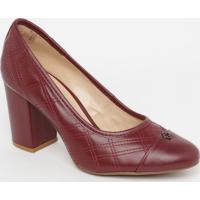 Sapato Em Couro Matelassê- Vinho- Salto: 8Cmcapodarte