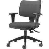 Cadeira Zip Assento Courino Cinza Escuro Base Rodizio Piramidal Em Nylon - 54409 - Sun House