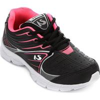 Tênis Infantil No Stress Jogging Masculino - Masculino-Preto+Pink