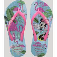 Chinelo Feminino Havaianas Slim Disney Cool Estampado Minnie Azul Claro