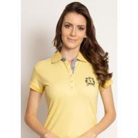 Camisa Polo Aleatory Piquet Lisa Candy Feminina - Feminino-Amarelo