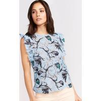 Blusa Floral Em Renda - Azul Claro & Pretapop Up