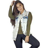Colete Lady Rock Jeans Desfiado Feminina
