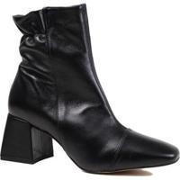 Bota Zariff Shoes Cano Curto Salto Grosso Em Couro Feminina - Feminino