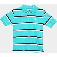 Camisa Polo Infantil U.S. Polo Assn Kids Listrada Masculina - Masculino