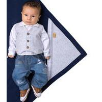 Saída De Maternidade Paraiso Jeans Com Bordados Azul Marinho