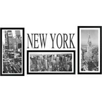 Kit De Quadros New York- Preto & Branco- 4Pã§S- Kkapos
