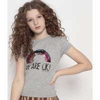 """Blusa """"We Are Ckj""""- Cinza & Rosa- Calvin Kleincalvin Klein"""