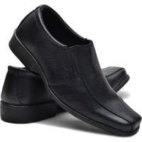 Sapato Conforto Couro Fox Shoes Masculino - Masculino-Preto