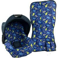 Conjunto Capa De Bebê Conforto E Capa De Carrinho Alan Pierre Baby 0 A 13 Kg - Dinossauro Azul Marinho
