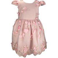 Vestido Juvenil Cattai Rosa De Renda Com Flores
