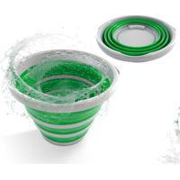 Balde Retrátil Dobrável Em Silicone 10 Litros Verde