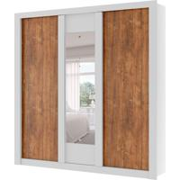 Guarda-Roupa Casal Elus Com Espelho 3 Pt 3 Gv Branco E Native