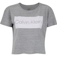 1177d98e3c Blusa Cropped Calvin Klein Logo - Feminina - Cinza