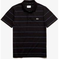 Camisa Polo Lacoste Sport Listrada Masculina - Masculino-Preto+Azul