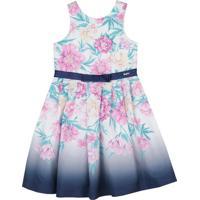 Vestido Floral- Rosa Claro & Azul Marinho- Paraísoparaíso
