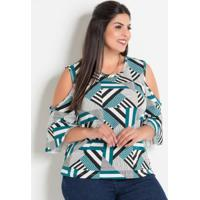 Blusa Geométrica Plus Size Com Ombros Vazados