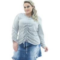 Blusa Confidencial Extra Jeans London Manga Longa Plus Size Feminina - Feminino-Cinza