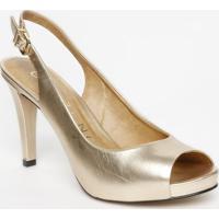 Peep Toe Em Couro Metalizado - Dourada - Salto: 10,5Carrano