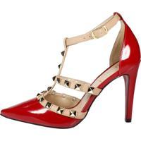 Scarpin Week Shoes Tachas Spike Vermelho Com Nude