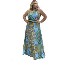 Vestido Soellas Boutique Crepe Longo Colorido Azul