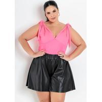 Body Rosa Neon Com Decote Profundo Plus Size