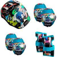 Kit Proteção Atrio Monster 1 Par: Joelheiras + Cotoveleiras + Munhequeiras + 1 Capacete - Infantil - Preto/Azul Cla
