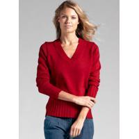 Suéter De Tricô Básico Decote V Vermelho