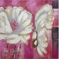 Quadro Pintura Flores Rosa 60X60 Cm Fullway