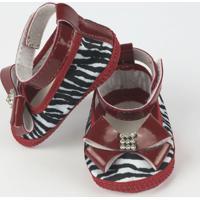 Sapato Bebê Feminino Vermelho Zebrinha-P - Feminino-Vermelho