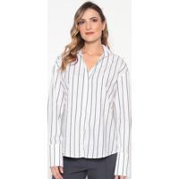 Camisa Listrada Com Bordado - Branca & Pretadudalina