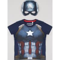 Camiseta Infantil Carnaval Capitão América Manga Curta + Máscara Azul Marinho