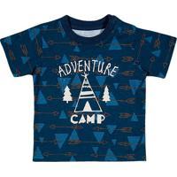 "Camiseta ""Adventure Camp"" - Azul Marinho & Brancatip Top"