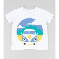 Camiseta Infantil Carro Manga Curta Branca