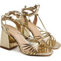Sandálias Saltare Babete Feminina - Feminino-Dourado