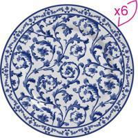 Conjunto De Pratos Para Sobremesa Arabesco- Branco & Azuscalla Cerâmica