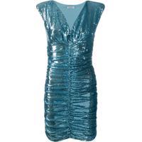 P.A.R.O.S.H. Vestido Franzido Com Paetês - Azul
