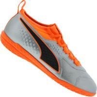 998e1ec2e2 Chuteira Futsal Puma One 3 Ic Leather Bdp - Adulto - Prata Laranja