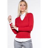 Suéter Vermelho Decote V