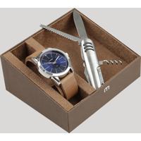 Kit De Relógio Analógico Mondaine Masculino + Canivete - 94985G0Mvnh4Kb Prateado - Único