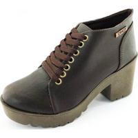 Bota Quality Shoes Tratorada Feminina - Feminino-Marrom Escuro