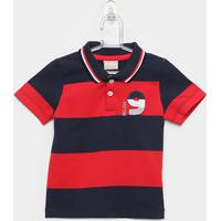 Camisa Polo Infantil Milon Listras Tal Filho Masculina - Masculino-Vermelho+Marinho