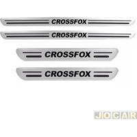Aplique Da Soleira - Crossfox 2005 Em Diante - Resinado - Auto Colante - Aço Escovado - Jogo