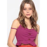 Blusa Cropped Com Franzido - Pink - Chocoleitechocoleite