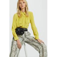 Camisa De Seda Básica Com Bolsos Amarela Amarelo Yoko - 38