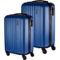 Conjunto De Malas De Viagem California Em Abs Gosuper Rodinhas Giro 360º 2 Peças - Masculino-Azul