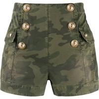 Balmain Short Cintura Alta Camuflado - Verde